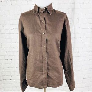 Ralph Lauren 100% Linen Brown Button Down Blouse
